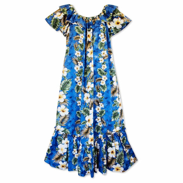 Hanauma Blue Long Ruffle Hawaiian Muumuu Dress - S / Blue - Womens Dress