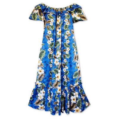 Hanauma Blue Long Ruffle Hawaiian Muumuu Dress - Womens Dress