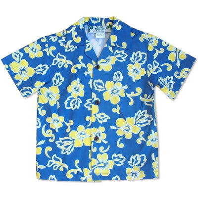 Hang Loose Blue & Yellow Hawaiian Boy Shirt - 2 / Yellow - Boy's Hawaiian Shirts