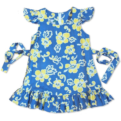 Hang Loose Blue & Yellow Hawaiian Girl Cotton Dress - Girl's Hawaiian Dresses