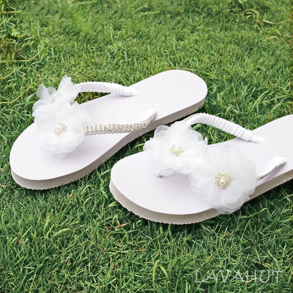 Harmony White Bridal Flip Flops - Hawaiian Sandals