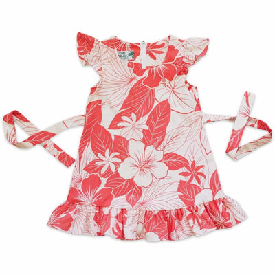 Haven Coral Hawaiian Girl Cotton Dress - 1 / Coral - Girl's Hawaiian Dresses