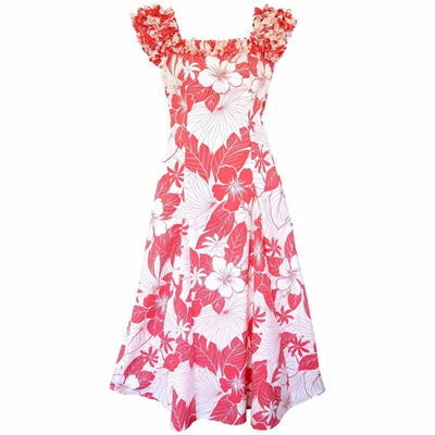 Haven Coral Leilani Hawaiian Muumuu Dress - S / Coral - Womens Dress