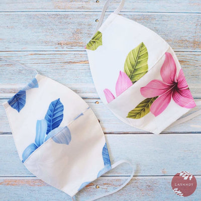 Hawaiian Adult Face Mask • Blue Blossom ~ Trimless - Blue - Face Mask