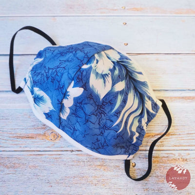 Hawaiian Face Mask • Blue Flower Power + Trim - Blue - Face Mask