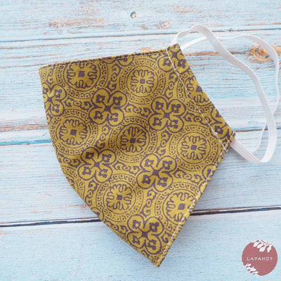 Hawaiian Face Mask • Gold Clover - Gold - Face Mask