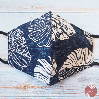 Hawaiian Face Mask • Navy Blue Waimea - Navy Blue - Face Mask