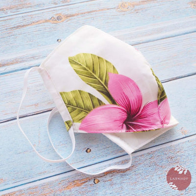 Hawaiian Adult Face Mask • Pink Blossom ~ Trimless - Pink - Face Mask