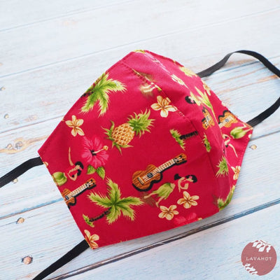 Hawaiian Face Mask • Red Hula Girl - Red - Face Mask