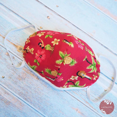 Hawaiian Face Mask • Red Hula Girl + Trim - Red - Face Mask