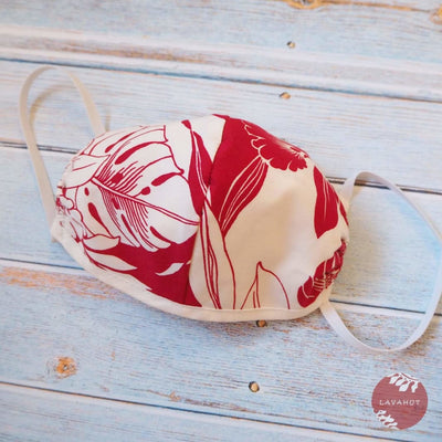 Hawaiian Face Mask • Red Orchid + Trim - Red - Face Mask