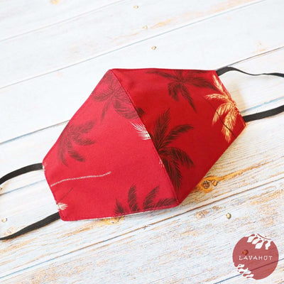 Hawaiian Face Mask • Red Palm Beach - Red - Face Mask