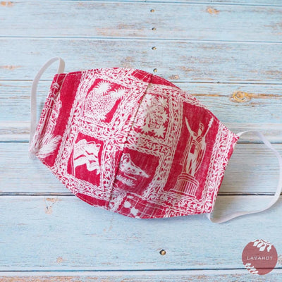 Hawaiian Adult Face Mask • Red Statehood ~ Trimless - Red - Face Mask