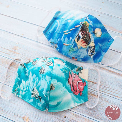 Hawaiian Adult Face Mask • Teal Coral Reef ~ Trimless - Teal - Face Mask