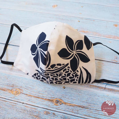 Hawaiian Face Mask • White Ukulele / Pineapple - White - Face Mask