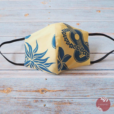 Hawaiian Face Mask • Yellow Ukulele / Pineapple - Yellow - Face Mask