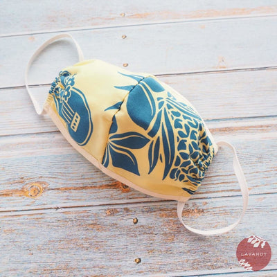 Hawaiian Adult Face Mask • Yellow Ukulele - Yellow - Face Mask