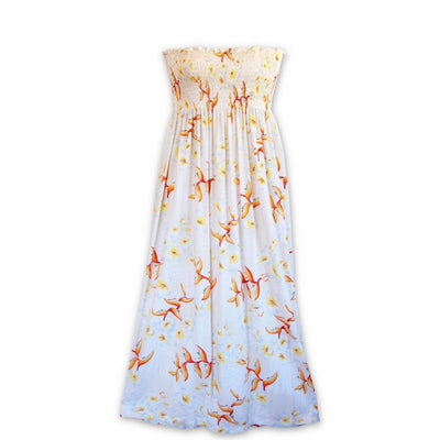 Heliconia Bliss Cream Maxi Hawaiian Dress - One Size / Cream - Women's Dress