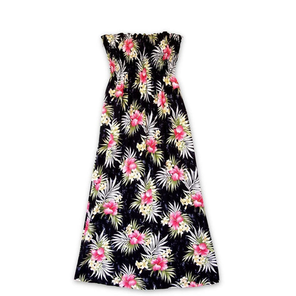 Hibiscus Isles Black Maxi Hawaiian Dress - Womens Dress