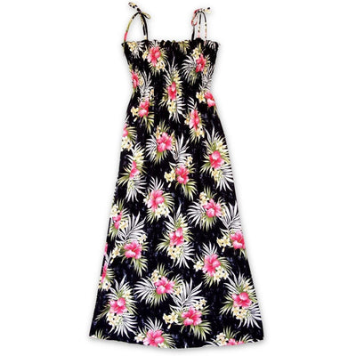 Hibiscus Isles Black Maxi Hawaiian Dress - One Size / Black - Women's Dress
