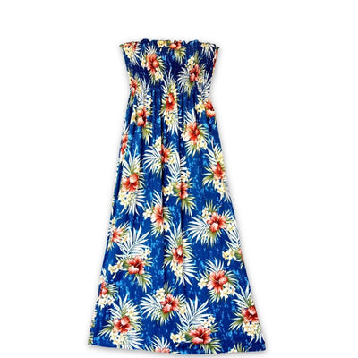 Hibiscus Isles Blue Maxi Hawaiian Dress - One Size / Blue - Women's Dress