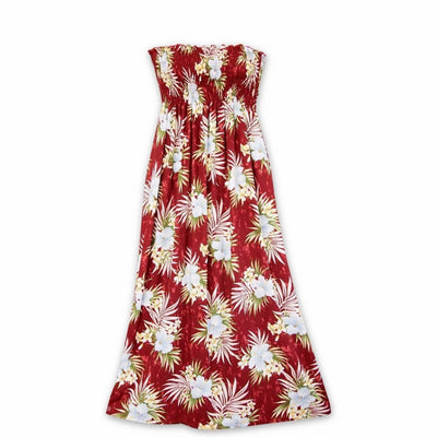 Hibiscus Isles Red Maxi Hawaiian Dress - One Size / Red - Women's Dress