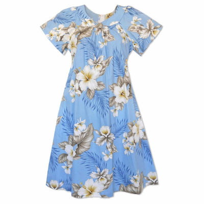 Hibiscus Joy Blue Cotton Hawaiian Tea Muumuu Dress - Women's Dress