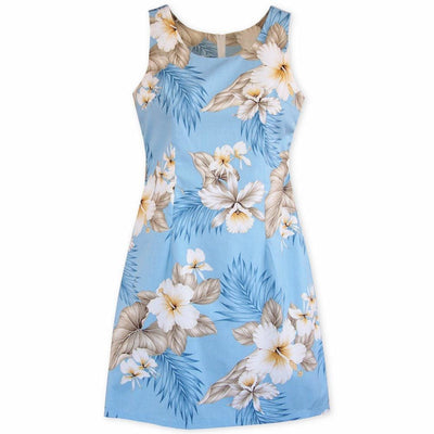 Hibiscus Joy Blue Short Hawaiian Tank Dress - Women's Dress