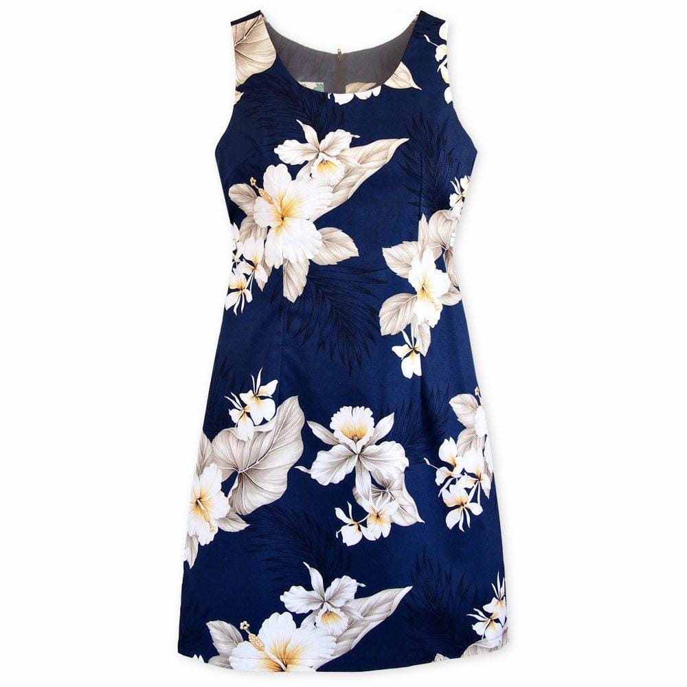 Hibiscus Joy Navy Short Hawaiian Tank Dress - Womens Dress