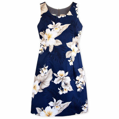 Hibiscus Joy Navy Short Hawaiian Tank Dress - Women's Dress