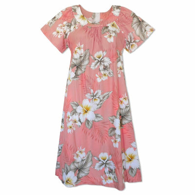 Hibiscus Joy Pink Cotton Hawaiian Tea Muumuu Dress - Women's Dress