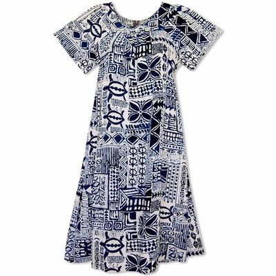 Hieroglyphics Cream Hawaiian Rayon Tea Muumuu Dress - s / Cream - Women's Dress