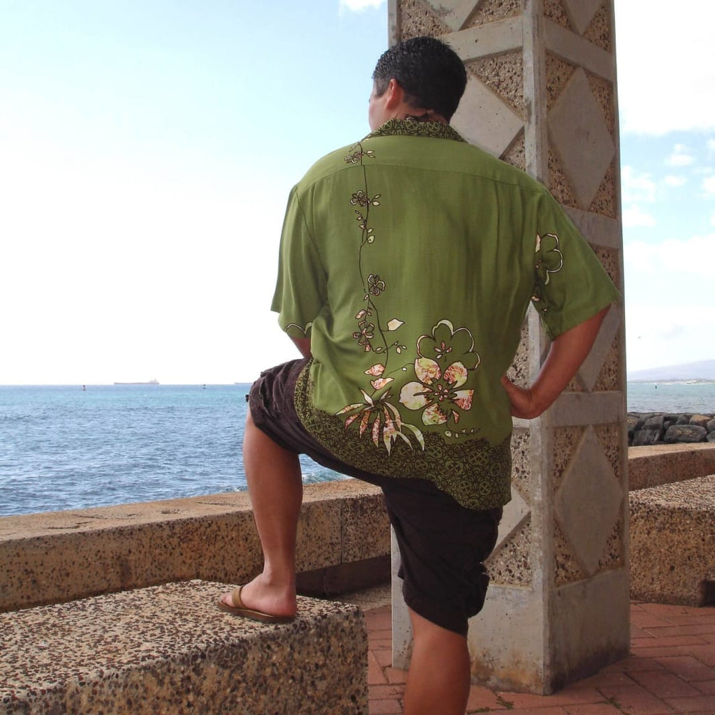 Hilo Green Hawaiian Rayon Shirt - Mens Shirts
