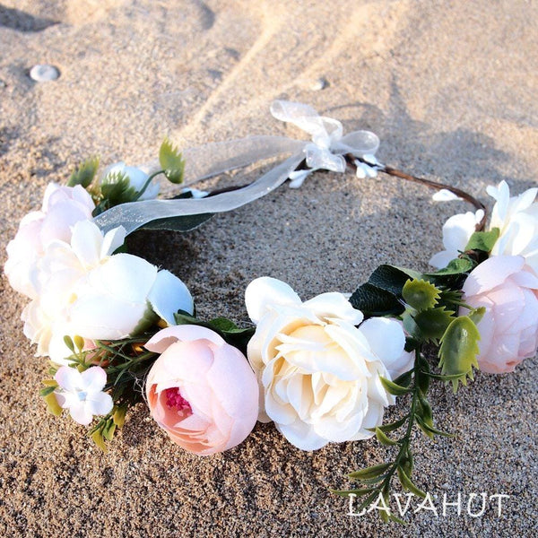 Hippie Cream Flower Crown - Hair Accessories