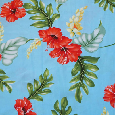 Honeymoon Blue Hawaiian Rayon Fabric by the Yard - Blue - Fabric