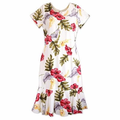 Honeymoon Cream Laka Hawaiian Dress - S / Cream - Womens Dress