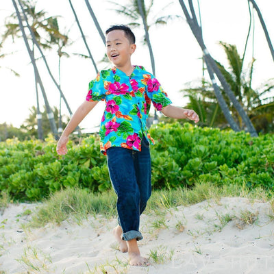 Hoopla Blue Hawaiian Boy Shirt - Boy's Hawaiian Shirts