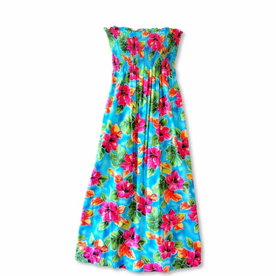 Hoopla Blue Maxi Hawaiian Dress - One Size / Blue - Womens Dress