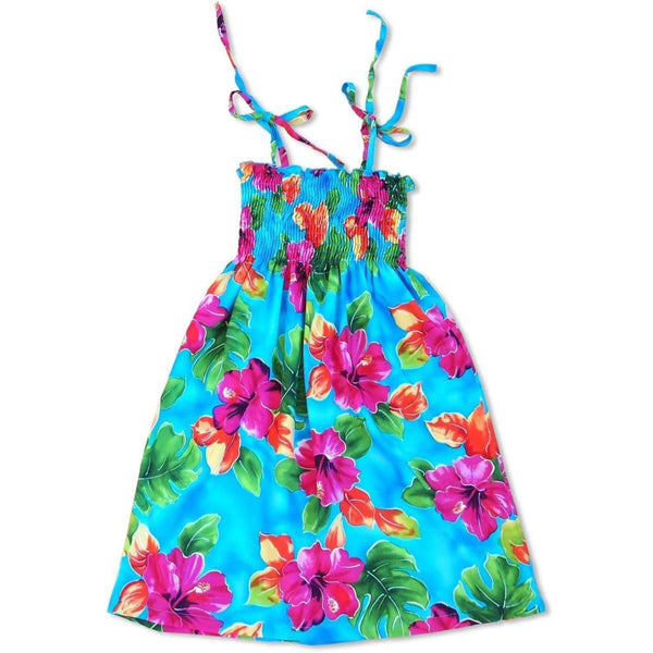 Hoopla Blue Sunkiss Hawaiian Girl Dress - Girls Hawaiian Dresses