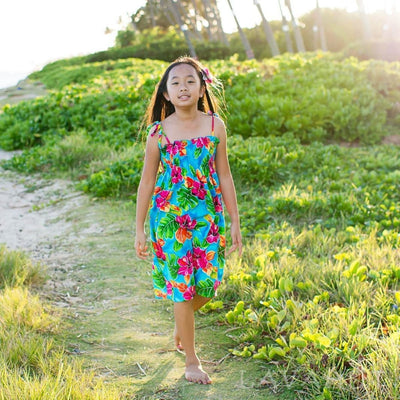 Hoopla Blue Sunkiss Hawaiian Girl Dress - Girl's Hawaiian Dresses