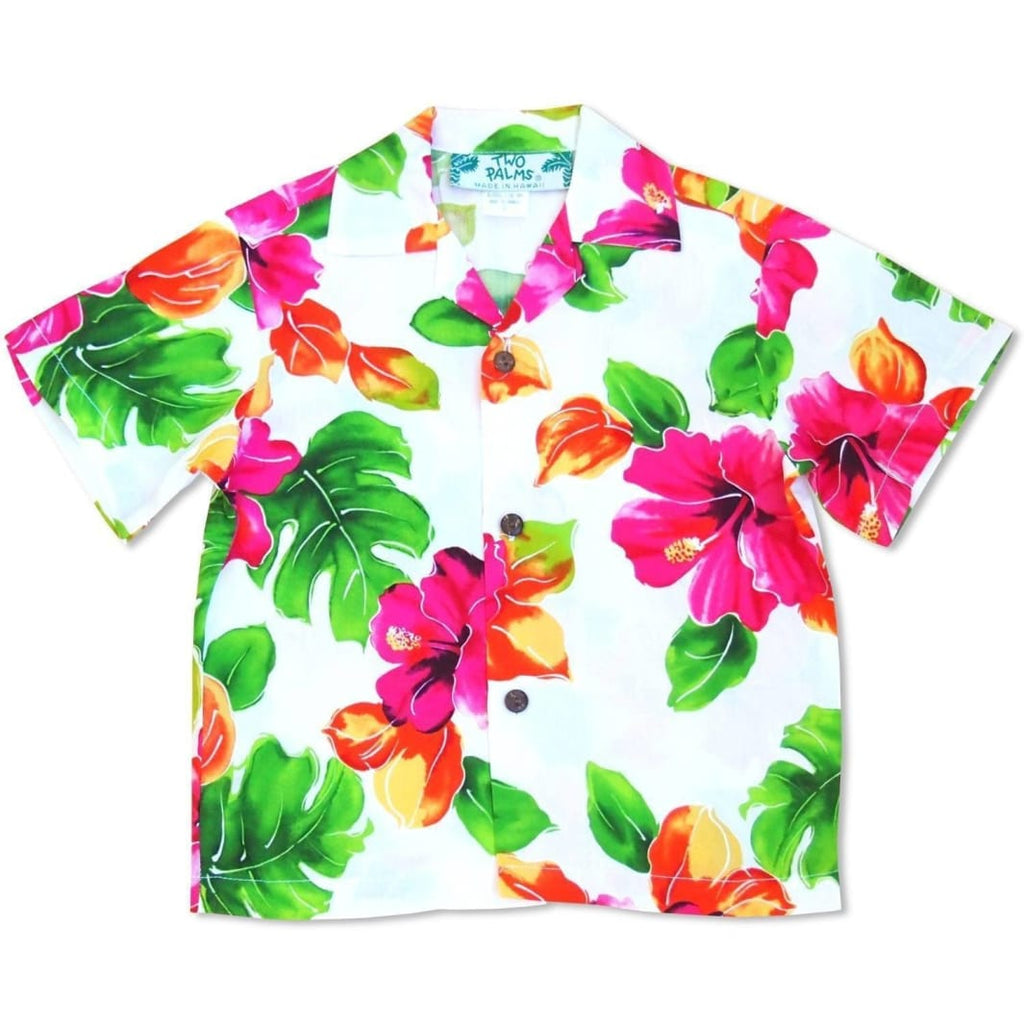 Hoopla White Hawaiian Boy Shirt - 2 / White - Boys Hawaiian Shirts