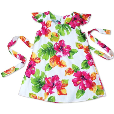 Hoopla White Hawaiian Girl Rayon Dress - 2 / White - Girls Hawaiian Dresses