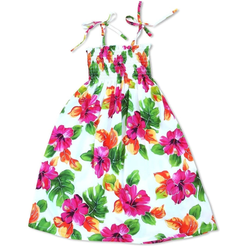 Hoopla White Sunkiss Hawaiian Girl Dress - S (2 - 4) / White - Girls Hawaiian Dresses