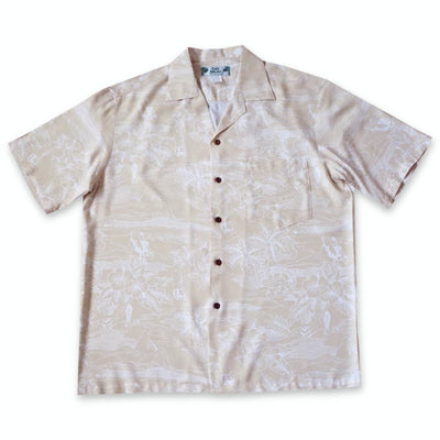 Island Hop Cream Hawaiian Rayon Shirt - Xs / Cream - Men's Shirts