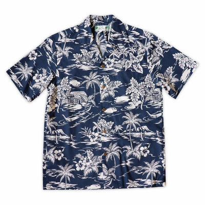 Island Navy Hawaiian Cotton Shirt - s / Navy - Men's Shirts