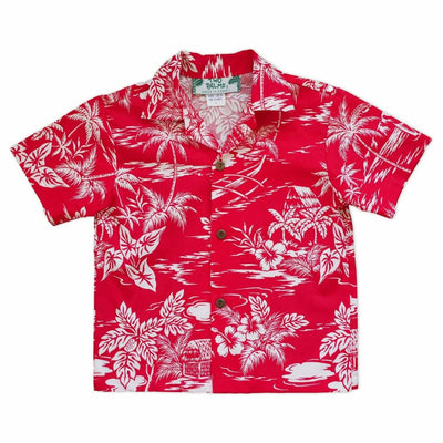 Island Red Hawaiian Boy Shirt - 2 / Red - Boy's Hawaiian Shirts