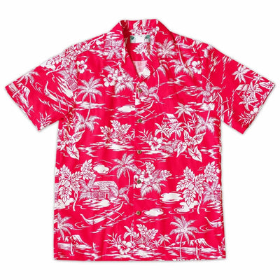 Island Red Hawaiian Cotton Shirt - s / Red - Men's Shirts
