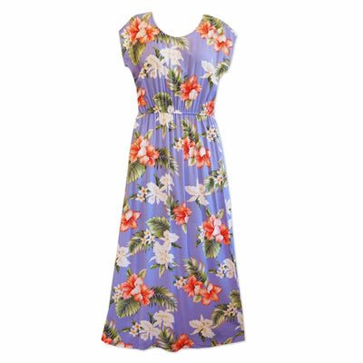 Island Swirl Purple Long Hawaiian Naomi Dress - Womens Dress
