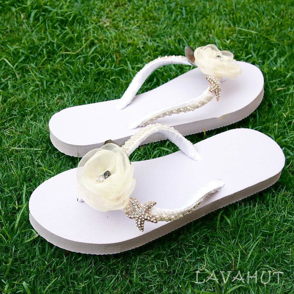 Jewel White Bridal Flip Flops - Hawaiian Sandals