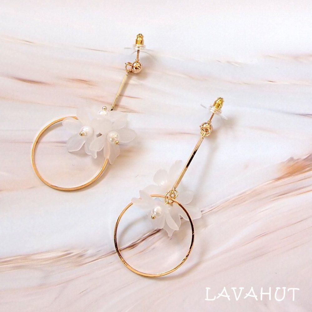 Joy White Dangle Earrings - White - Earrings